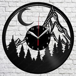 Mountain Moon Vinyl Record Wall Clock Home Fan Art Decor 12'' 30 cm 7168
