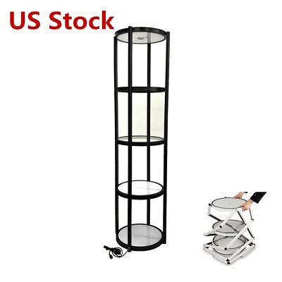 81 Round Aluminum Spiral Tower Display Case With Shelves Top Light - Us Stock