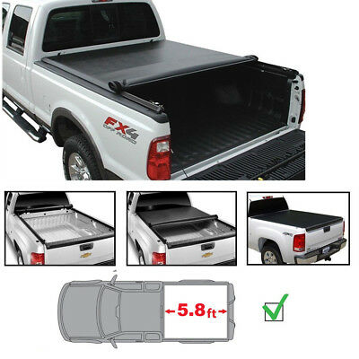 Roll Top Cover Rail - 5.8' Tonneau Cover For 07-13 Silverado/Sierra 1500 New Body Soft Blk Roll-Up Bed