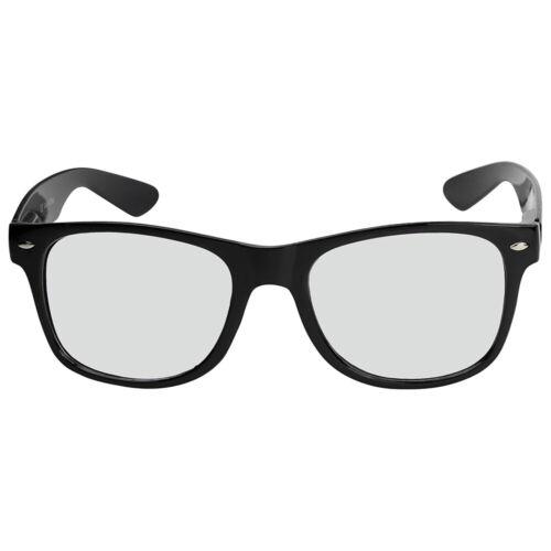 Nerd Brille Nerdbrille ohne Stärke Retro Vintage Set Herren Damen Unisex schwarz