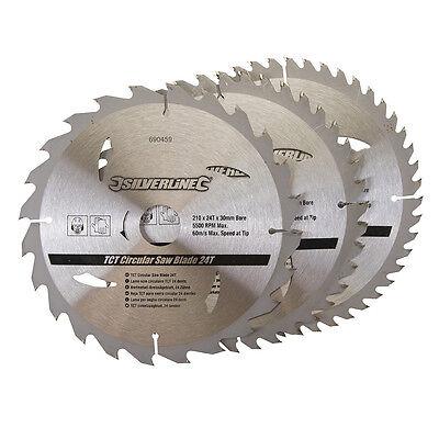 3 x Circular Saw Blades, 210mm x 30mm Bore Hole, 25mm + 16mm