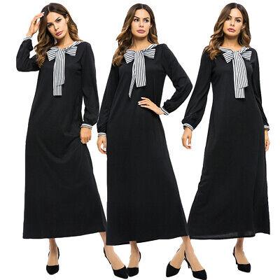 Women Stripes Muslim Long Maxi Dress Robe Abaya Loose Islamic Dubai Jilbab Gown