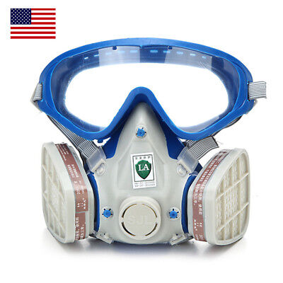 US Double Filter Full Face Gas Mask Breath Respirator Painting Dust Protector - Full Face Gas Mask