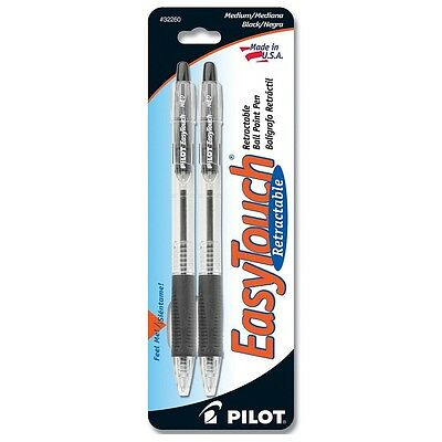 Pilot Easytouch Medium Retractable Ball Point Pens Black 2 Ea Pack Of 3