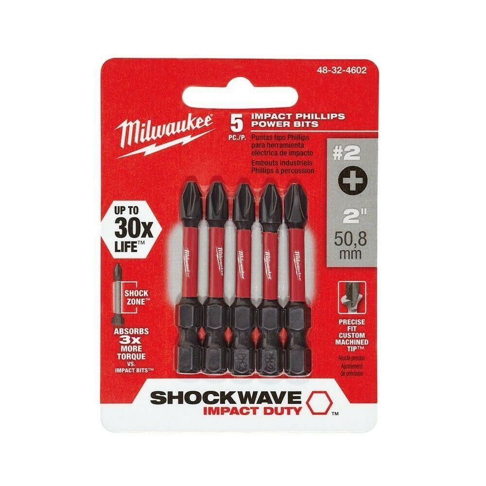 Milwaukee 48-32-4602 Shockwave #2 Phillips 2-inch Power Bit