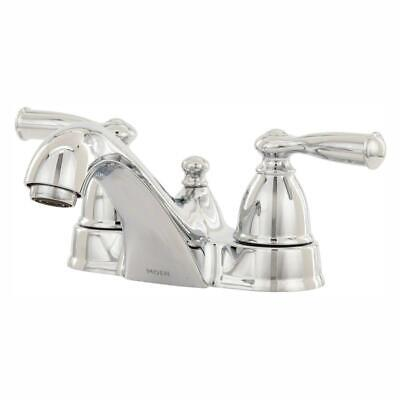 Brand New Moen WS84912 Banbury Two-Handle Low Arc Lavatory Faucet, Chrome Modern Two Handle