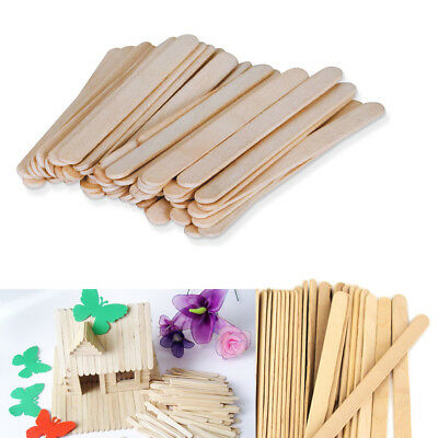 100 pcs Natural Wood Popsicle Sticks Wooden Craft Sticks Wax 4-1/2