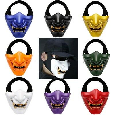 Monster Kabuki Samurai Half Face Tactical Airsoft Evil Masks Hannya Oni Noh Mask](Oni Mask)