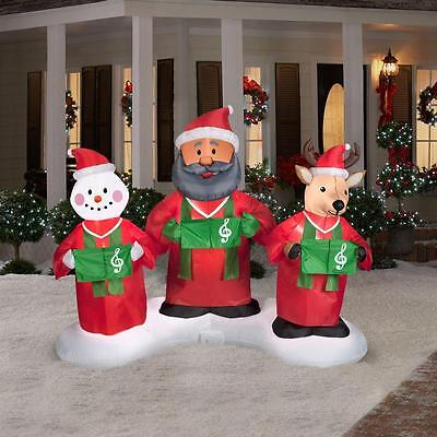 7ft Animated Inflatable Santa Snowman & Reindeer Gospel Trio Sing Dance To Music - Music Inflatables