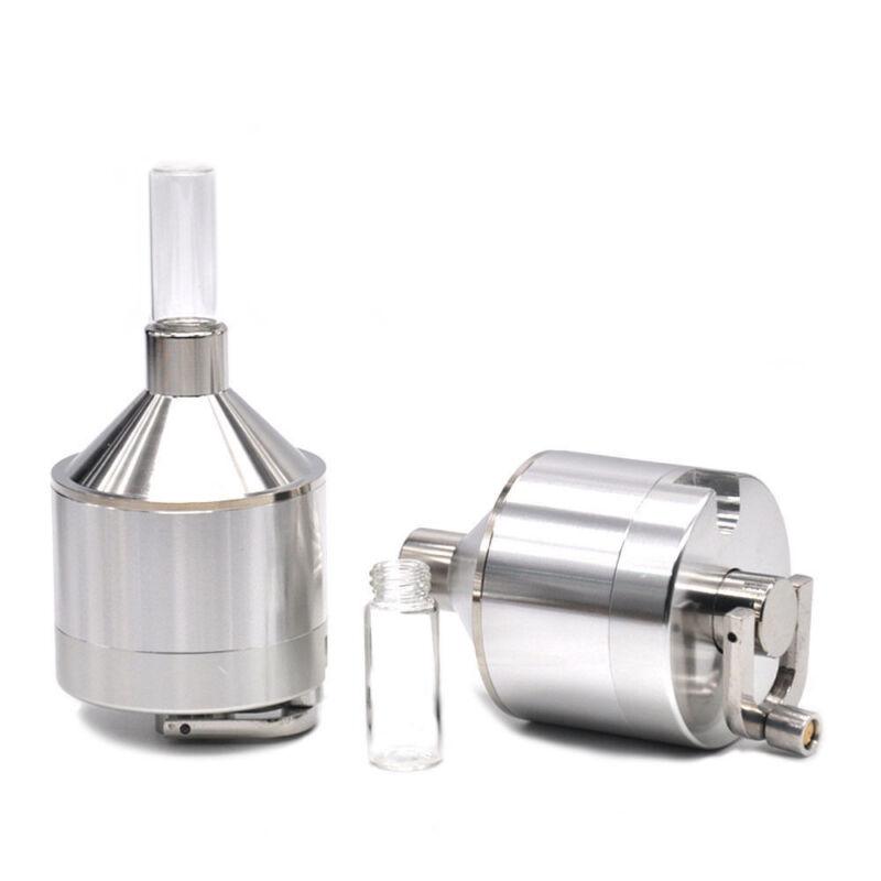 3PC Powder Grinder Metal Spice Hand Mill Funnel Snuff Snorter w// Threaded Vial
