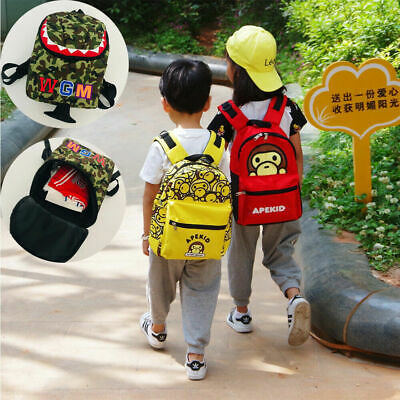 A Bathing Ape Bape Kids Baby Milo Monkey Shark Backpack School Bag Bag Boy Girls - Monkey School Backpack