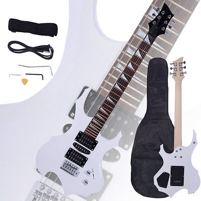New Flame Type Electric Guitar White +Gigbag +Strap +Cord +Pick +Tremolo Bar
