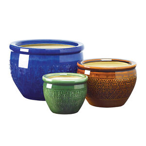 Set of 3 Green Brown Blue Ceramic Planters Flower Pots