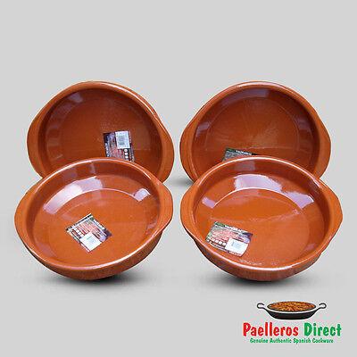 Set of 4 x 28cm Spanish Terracotta Tapas Dishes / Cazuelas