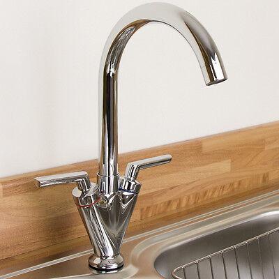 Saturn Chrome Twin Handle Swivel Spout Kitchen Sink Mixer Tap B6008