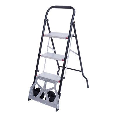 3 Step Folding Ladder Heavy Duty Industrial 330lb Load Capacity Hand Truck 176lb