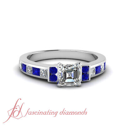 1.70 Ct Asscher Cut Diamond & Blue Sapphire Engagement Ring Channel Set VS2 GIA