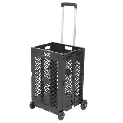 Mesh Rolling Utility Cart Folding And Collapsible Hand Crate On Wheels Ch