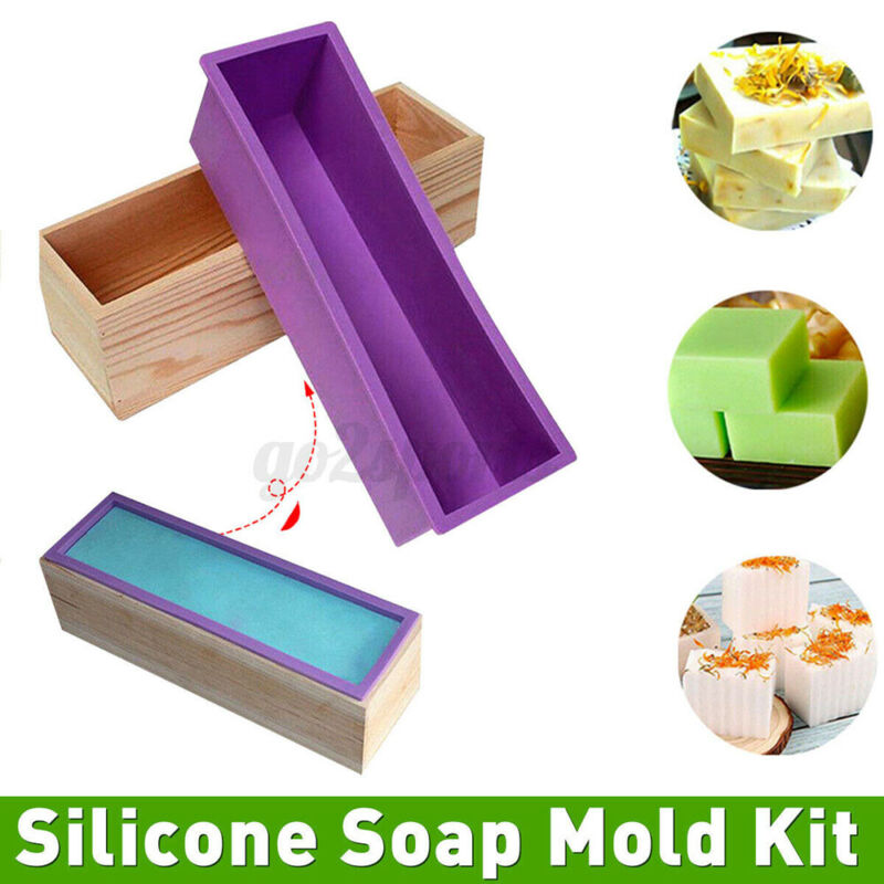 1 2kg Wood Loaf Soap Mould Melt w/ Silicone Wooden Box Handmade Mold Making Cake