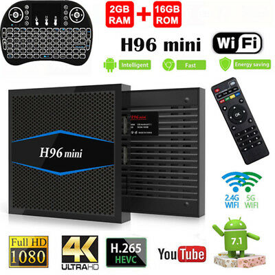 2GB+16GB Dual Band H96 Mini 4K Quad Core Smart TV Box Andriod 7.1 +Keyboard UK