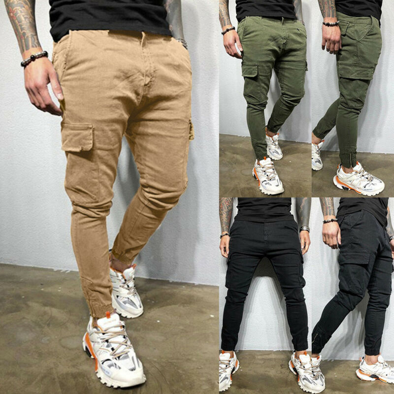 ❤️ Mens Slim Fit Cargo Pants Skinny Biker Pocket Combat Trousers Bottoms Joggers