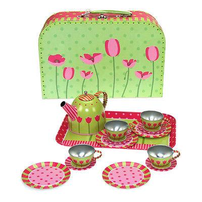 Puppengeschirr Metall im Koffer Kinder Teeservice Puppen Puppenservice Tulpen