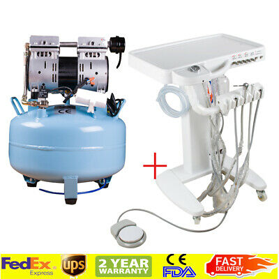 Usa 4-hole Dental Delivery Unit Mobile Cart Work With 30l Compressor Machine