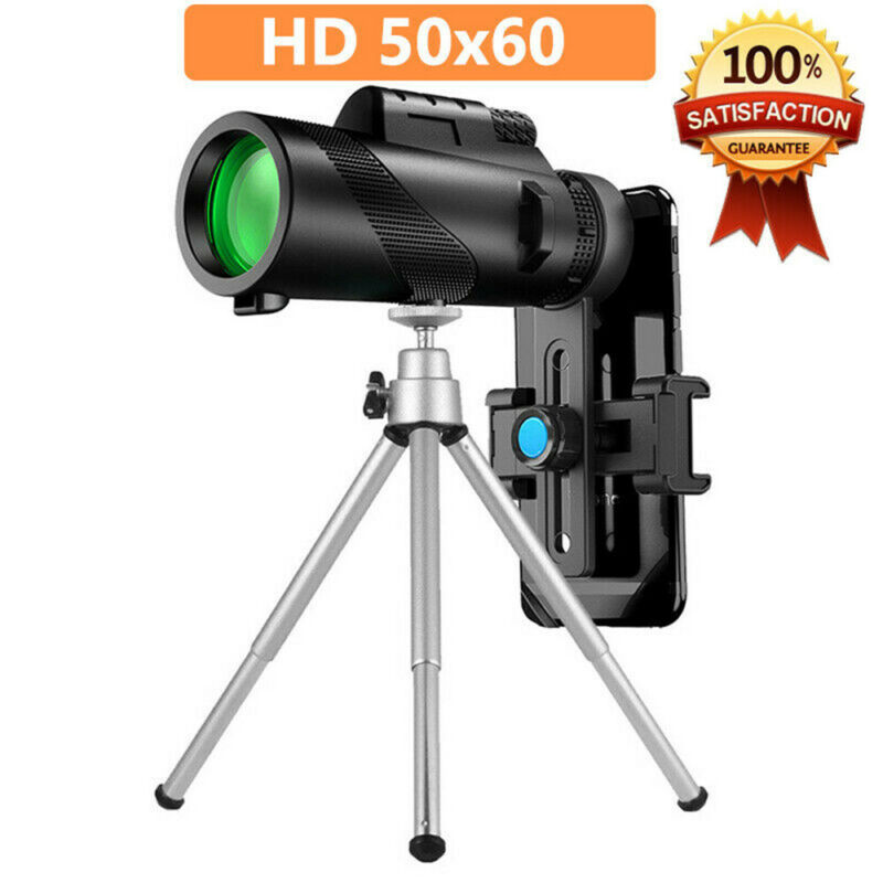 50X60 Zoom Optical HD Lens Monocular Telescope Tripod Clip For Cell Phone Set