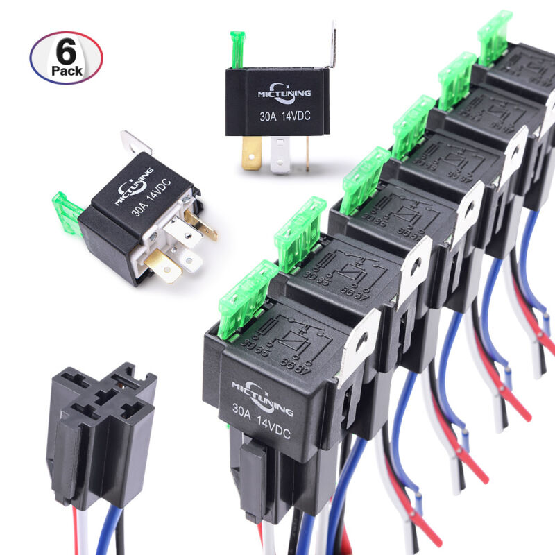 6PCS 12V 5-Pin Bosch Car Relay Switch Harness Set 30AMP Fuse 14AWG Hot Wire SPDT