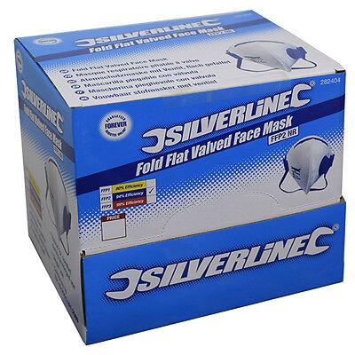 Silverline Comfort Respirator Dust Mask 25 Pack FFP2 NR Fold Flat Valved 282404