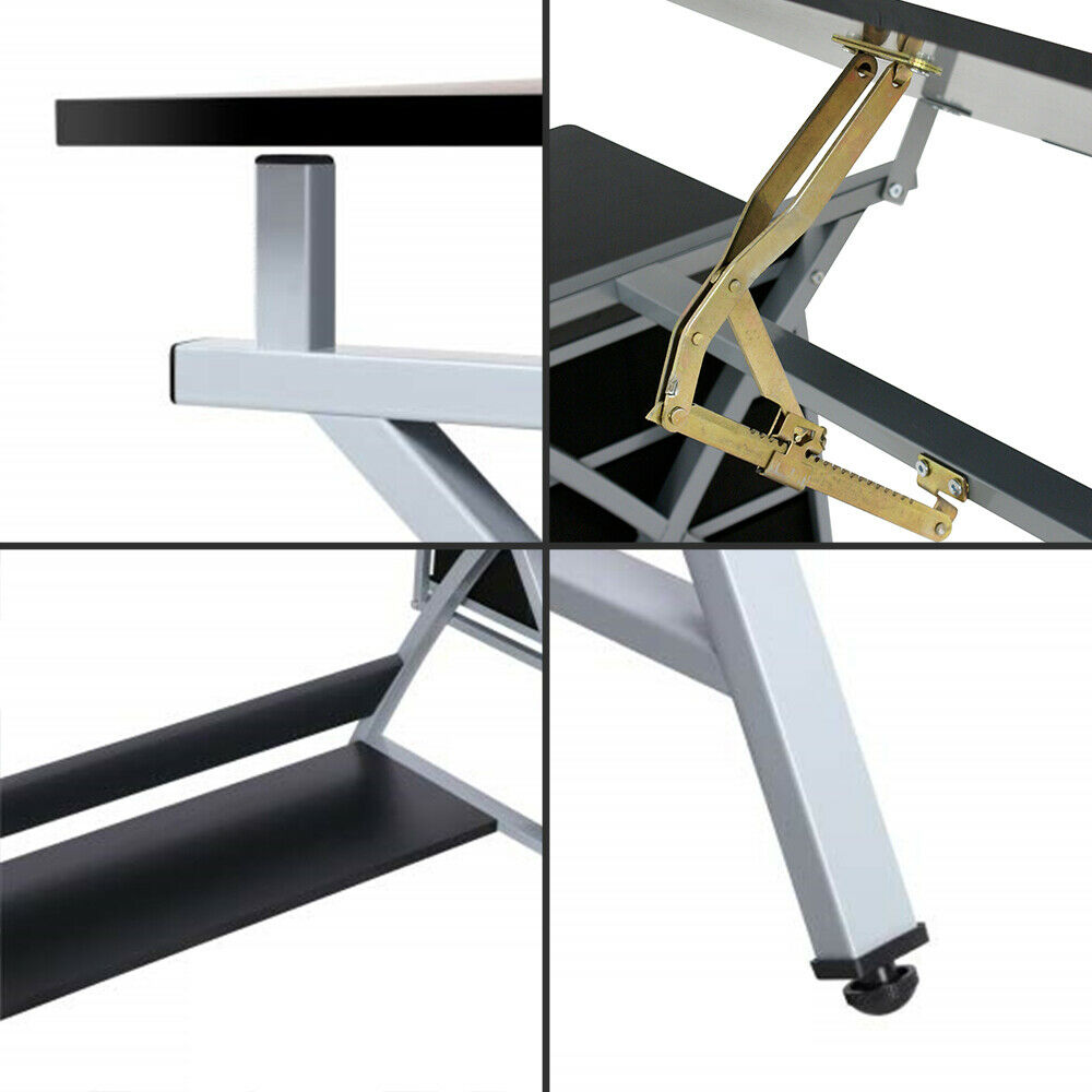 Drafting Craft Table Station MDF Top Drawing Desk Art Work Artist Drawer W/Stool Art Supplies