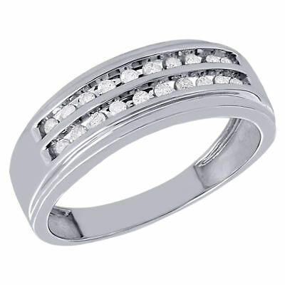 10K White Gold Mens Diamond Wedding Band 8mm Channel Set Engagement Ring 1/4 Ct.