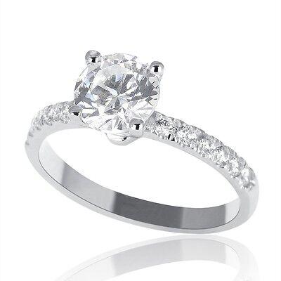 1 Carat F SI1 Real Diamond Engagement Ring Round Cut 18K White Gold Enhanced