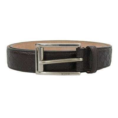 Pre-owned GUCCI SSIMA GG Waist Belt 281798 Brown Leather Free Shipping