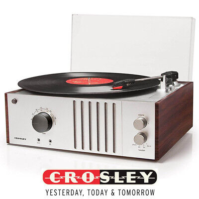 New Crosley MAHOGANY 3-Speed Record Player Turntable CR6017A-MA Radio AM/FM for sale  Brownstown