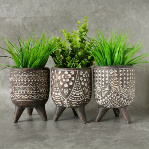 garden decor - Tribal African Resin Pot Planters On Legs Indoor Outdoor Garden Home Decor