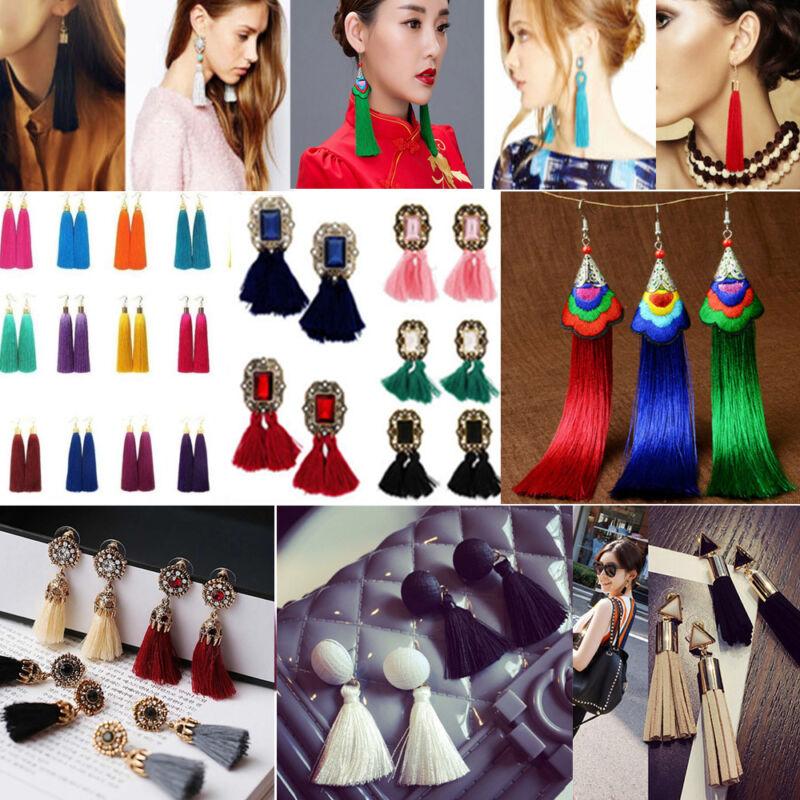 Earrings - Women Fashion Bohemian Earrings Vintage Long Tassel Fringe Boho Dangle Earrings