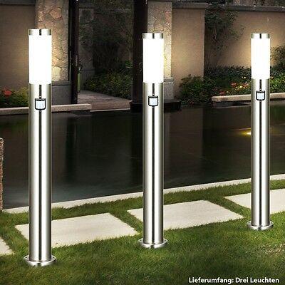 3 x Außen Stand Leuchte Hof Edelstahl Strahler Lampe Steh Bewegungsmelder IP44