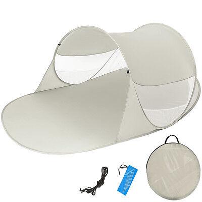 Pop Up Strandmuschel Wurfzelt Sonnenschutz Windschutz Zelt mit UV Schutz grau