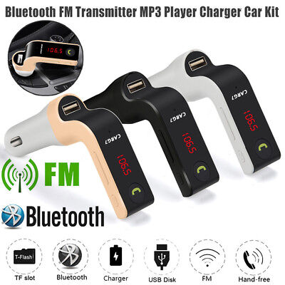 Hands-free Bluetooth Car Kit FM Transmitter USB Charger Adapter MP3 Player G7 US Fm Hands Free Car