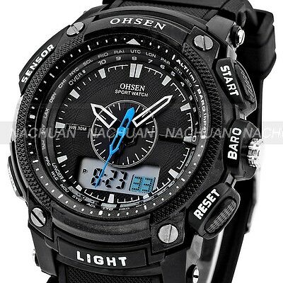 Kyпить OHSEN Black Waterproof Digital LCD Date Mens Military Sport Rubber Quartz Watch на еВаy.соm