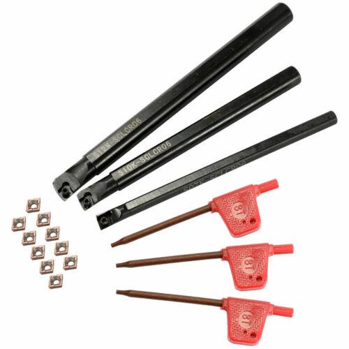 New Steel Boring Bar Lathe Turning Tool Holder CCMT0602 Carbide Inserts Set