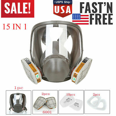 Us Full Face Gas Mask Painting Spraying Respirator Wfilters For 6800 Facepiece