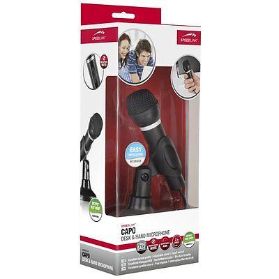 Speedlink CAPO Tischmikrofon Hand Mikrofon mit Stativ 3,5mm 2134 Karaoke für PC