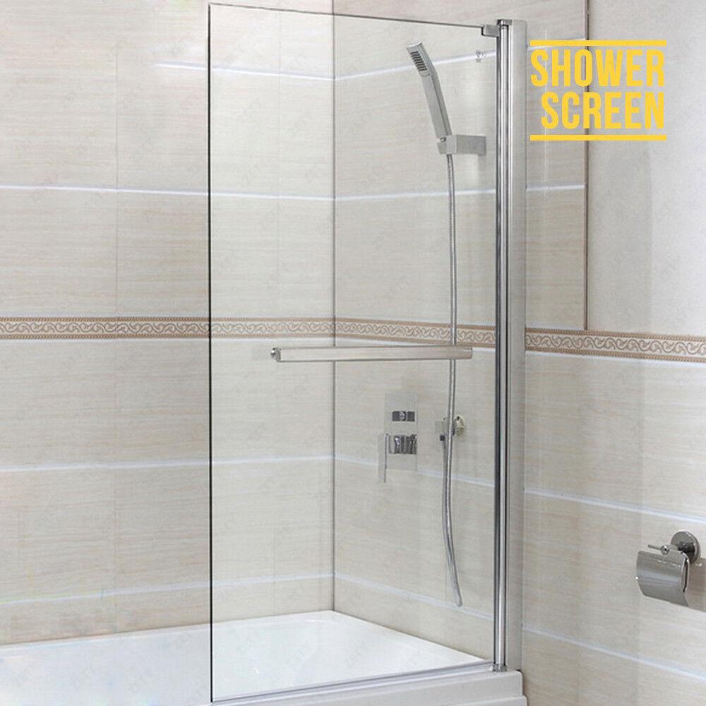 Over Door Bath Shower Screen Panel For 6mm Glass 180 Pivot Square Framed EBay