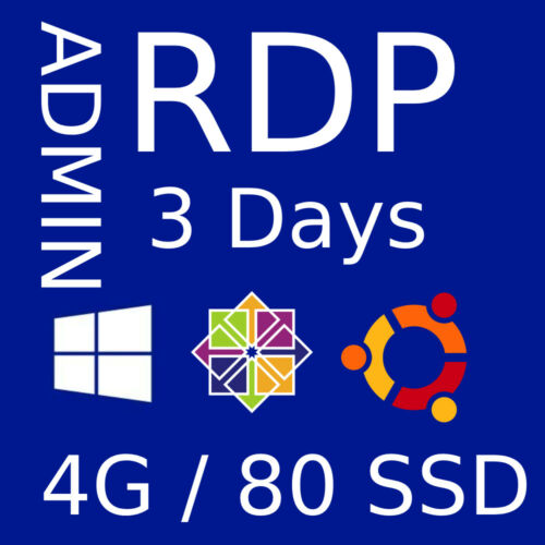 RDP SERVER ✔️ VPS SERVER ☑️ 4 GB RAM ✅ 80 GB HDD 🔥 FOR 3 DAYS 🔥 ADMIN