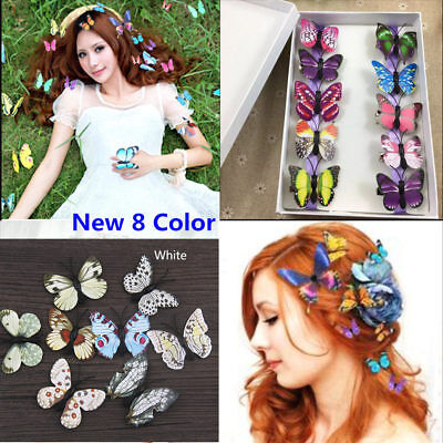 For sale 5x Butterfly Hair Clips Bridal Hair Accessories Wedding Photography Costume