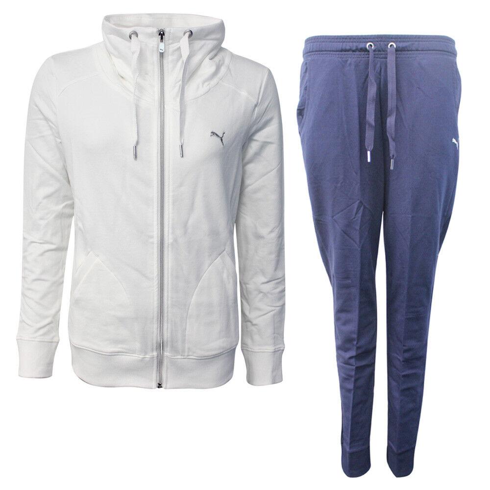 Dettagli su Puma Francese Spugna Donna Completo Tuta Pantaloni Lunghi Bianco Navy 839313 01