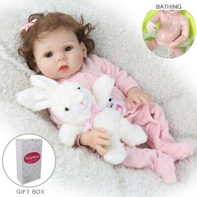 "18"" Waterproof Girl Doll Full Body Silicone Reborn Baby Doll Lifelike Gifts Toys"