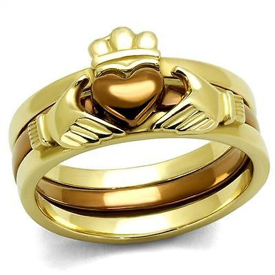 Stainless Steel Claddagh Heart Coffee Gold  IP Wedding Engagement 3 Ring -